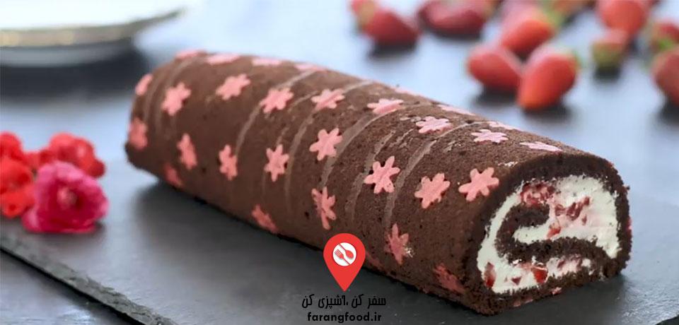 فیلم آموزش سوئیس رول شکلاتی توت فرنگی