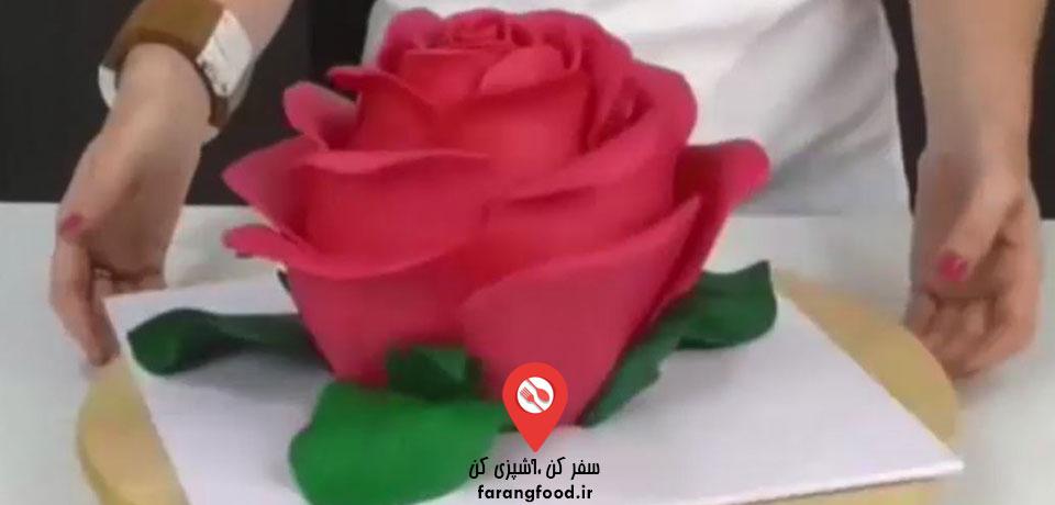 فیلم آموزش تزیین کیک بشکل گل رز