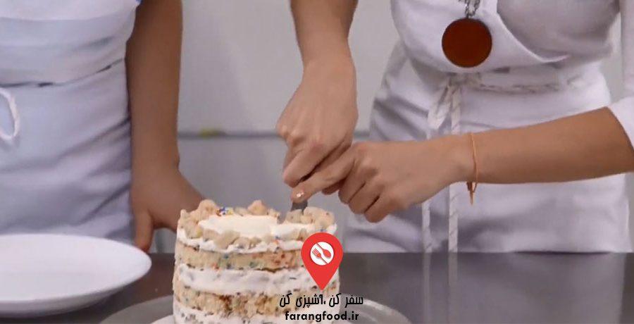 فیلم آموزش کیک تولد رنگین کمانی
