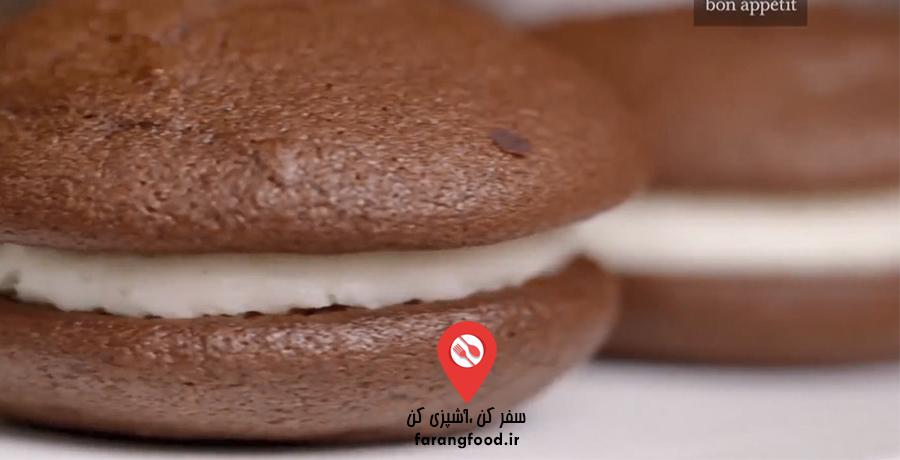 فیلم آموزش شیرینی پای ووپی شکلاتی