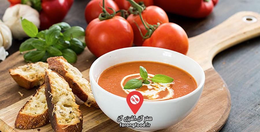 آشپزی خانگی :فیلم آموزش سوپ گوجه و فلفل دلمه ای با نان باگت پنیری