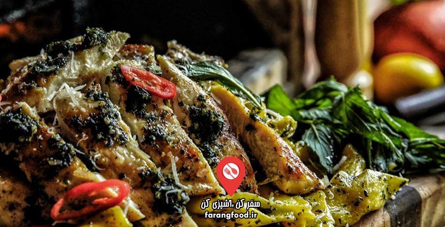 آشپزی در طبیعت : فیلم آموزش پاستا مرغ با سس پستو