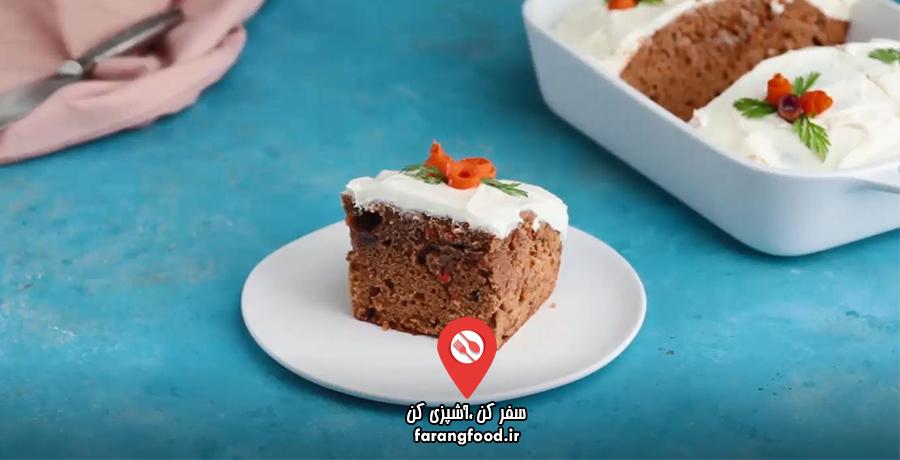 فیلم آموزش کیک خامه ای گردو کشمش هویج