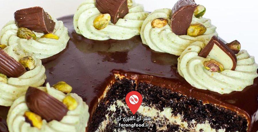 آموزش کیک شکلاتی پسته ای