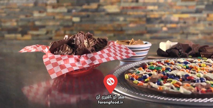 آموزش پیتزا شکلاتی و بال بادام زمینی