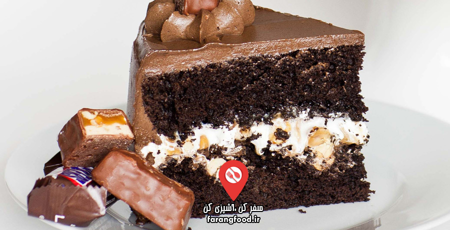 آشپزی با تاتیانا : فیلم آموزش کیک خامه ای با شکلات اسنیکرز و بادام زمینی