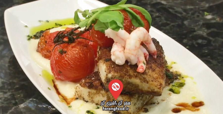 آشپزی یام فیلم آموزش خوراک ماهی هالیبوت با قارچ پورچینی و پوره گل کلم