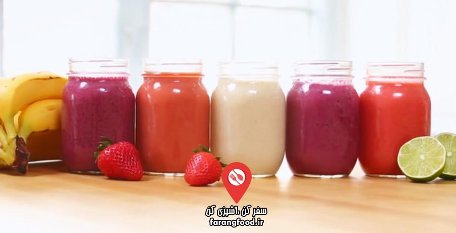 دنیای خوراکی ها فیلم آموزش اسموتی با ۵ طعم جدید و فوق العاده