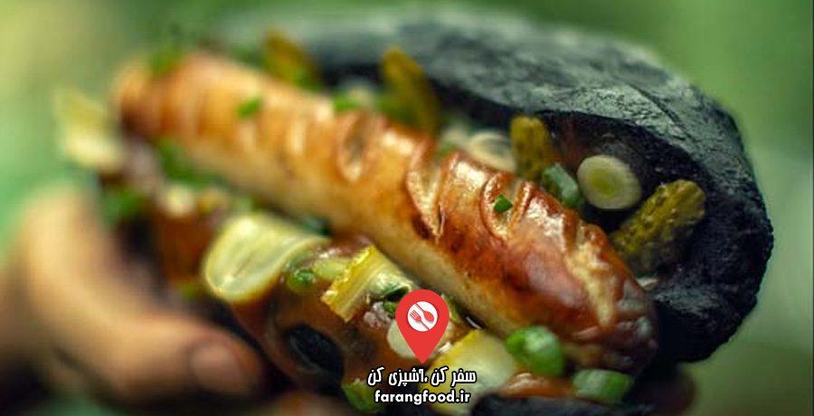 آشپزی در طبیعت فیلم آموزش ساندویچ هات داگ سیاه سفید جنگلی