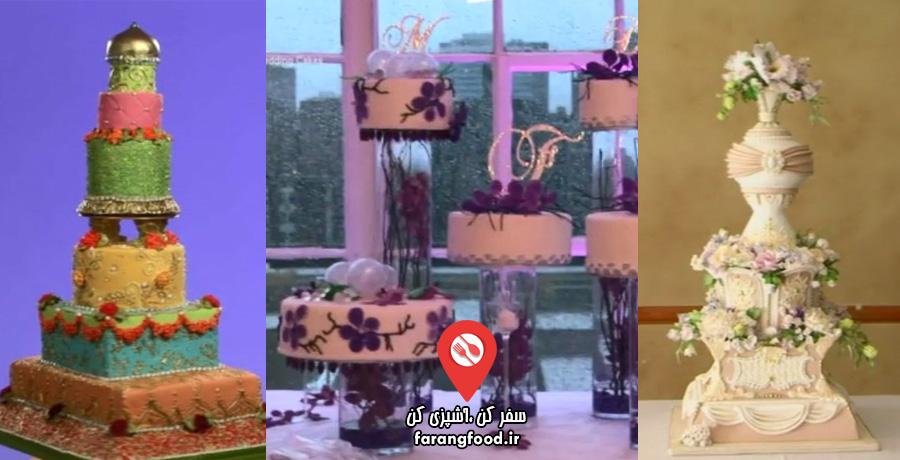 کیک عروسی کلاسیک تاریخی , کیک عروسی بالیوودی رنگی و کیک عروسی مدرن ارکیده ای