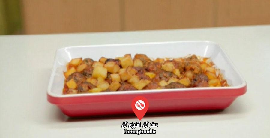 آشپزی به صرفه فیلم آموزش کوفته قلقلی عربی با سیب زمینی و سس قرمز