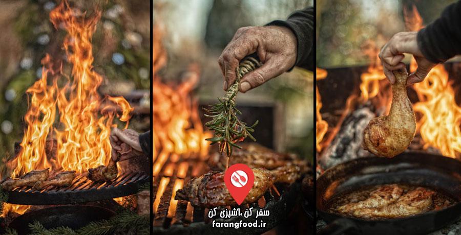 آشپزی در طبیعت فیلم آموزش کباب مرغ با باربیکیو