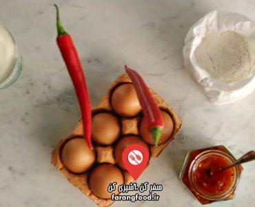 غذای سریع و آسان جیمی نان لواش با چاتنی انبه و تخم مرغ